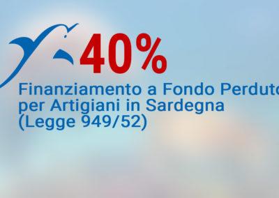 Finanziamento a Fondo Perduto (40%) Contributi per Artigiani in Sardegna (Legge 949/52)